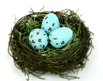 Easter Eggs Robin Eggs In Twig Nest Beaded Woodland Cottage Shabby Chic Home Accent *READY TO SHIP