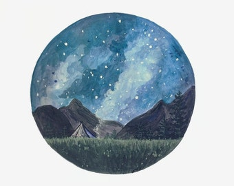 Camping Print, Night Sky Print, Camp Painting, Mountain Art, Night Sky Painting, Camping Painting, Adventure Print, Outdoor Art, Landscape