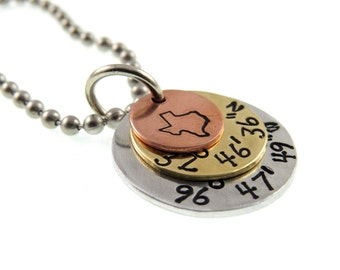 Coordinates Jewelry - Hand Stamped - State Jewelry - Gifts for Her Necklace - Expressions Bracelets - Hand Stamped Jewelry