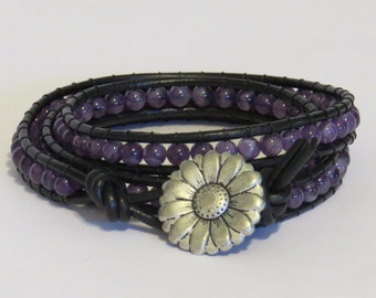 E-1712 Amethyst & black leather wrap bracelet