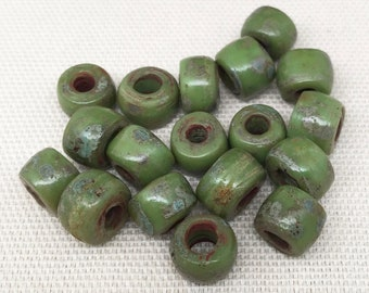 30 Large Hole Green Picasso Czech Glass Beads 10mm