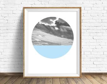 "nature photography, large art, large wall art, printable art, instant download printable art, landscape prints, art - ""Cloudscape and Blue"""