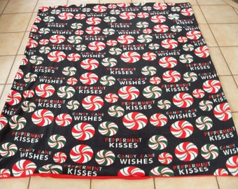 Refreshing Christmas Candy cane Wishes Peppermint Kisses Colorful All Fleece Throw Blanket