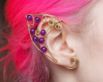 Lovely Violet Elf Ear Cuffs Gold Wire Elven Ears Wrap Fairy Pixie Cosplay Fantasy Glass Beads Cuffs Earcuffs Earcuff Boho Jewelry Earrings