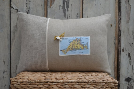 Martha's Vineyard Map Postcard Pillow (available in 3 styles and 2 prices)