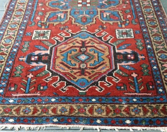 Persian antique  rug. Karaja c1920. Beautiful  palette of vegetable dyed colors. Nice wool. A little wear but all original. No holes. Beauty