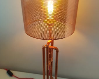 Copper Lamp - Steampunk - Industrial - Vintage - Handmade - Metal - Retro