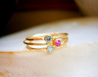 Dainty 14K Gold Birthstone Stacking Ring Tiny Birthstone Ring Pinky Ring Promise Ring Push Present - made to order in your finger size