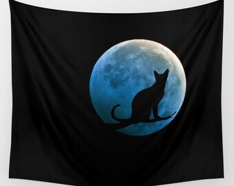 Cat and the Moon Wall Tapestry, Full Moon Tapestry, Blue Moon, Dorm, Office, Black, Noir Wall Art, Surreal, Home Interior, Teal BlueTapestry