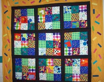 Bright children's quilt Sudoku Confetti