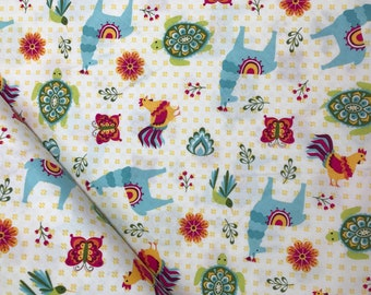 Llama Toss in White from the Juxtaposey Collection by Betz White for Riley Blake, Cotton Fabric, Choose Your Cut
