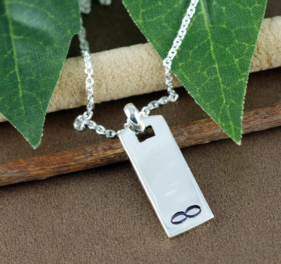 Hand Stamped Bar Necklace | Necklace for Him | Gift for Dad | Infinity Bar Necklace | Personalized Initial Necklace, Gift for Her