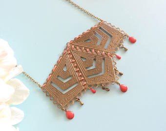 "Necklace ""Mabyn"" bronze and pink/red"