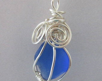 Blue Sea Glass Jewelry Wire Wrapped Pendant Beach Glass Necklace Gift for Women Wedding Bridesmaid