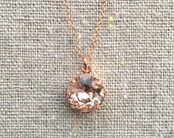 Swarovski Crystal Blush Pink Cushion Pendant Delicate Rose Gold Necklace Bridesmaids Ask Gifts Bridal Jewelry Flower Girl Necklace