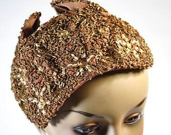 Antique Beaded Hat Bronze