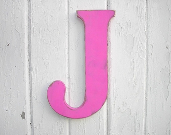 """Rustic Wooden Letter J 12"""" Girls Wall Decor Art Fuchsia Distressed Letters"""