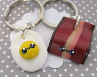 Bacon Gift, Bacon and Egg, Cute Keychain, Best Friend Keychain, Boyfriend Gift, Bacon Lover, Funny Keychains, BFF Gift, Funny Friend Gift