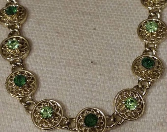 Peridot and Emerald Crystal Choker, Repurposed Choker, Crystal Necklace, Filigree Link Chain Necklace, Adorned With Crystals