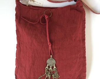 Unique, chili pepper red, antique linen cross body bag with vintage Berber coins, same color cotton, adjustable strap