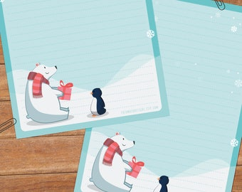 Winter bear & penguin - DOWNLOAD file - Printable Writing paper - A5 size