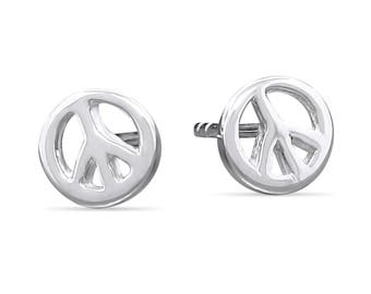 Sterling Silver Peace Sign Tiny Stud Earrings - Silver Studs Everyday Earrings - Minimal Earrings - Delicate Earrings