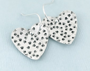 Paw Prints on My Heart - Sterling Silver Hand Stamped Earrings - Dog Lover Gift