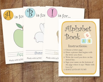 Alphabet Book Baby Shower Game Printable, Baby's First Alphabet Book Keepsake, Alphabet Scrapbook For Baby Shower, Storybook Baby Shower