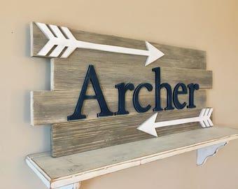 Nursery reclaimed wood name sign, Distressed nursery name, Rustic nursery decor, nursery arrows decor, Nursery wall decor, Nursery letters