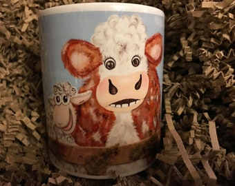 Duke & Kevin Hereford Bullock cartoon sheep lamb Mug Cup