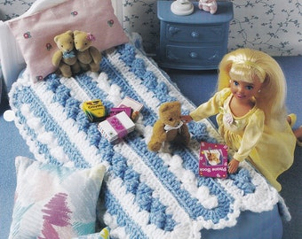 Mile-A-Minute Afghan, Annie's Fashion Doll Crochet Pattern Club Leaflet FC29-04