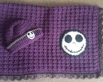 Adorable purple Jack inspired baby blanket set