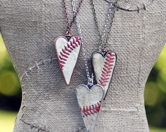Real Baseball Large Heart Pendant Necklace - with Jersey number or initials - baseball mom jewelry - silver, antique gold, copper • 4299