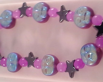 Moons, stars and amethyst bracelet