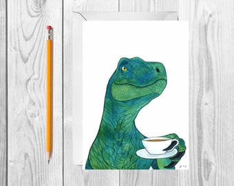 Watercolor Dinosaur Card Gift For Tea Lover Gift Blank Greeting Card Set With Envelopes Funny Tea Card Funny Greeting Card Just Because