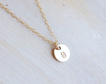 Tiny 14k Gold Filled Hand Stamped Initial Necklace