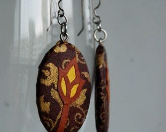 Brown Flower Hanji Paper Earrings Dangle Brown Yellow Flower Hypoallergenic hooks Lightweight Ear rings