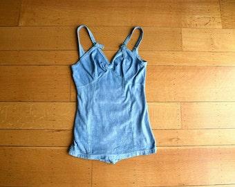 1930s Jantzen swimsuit . vintage blue 30s bathing suit