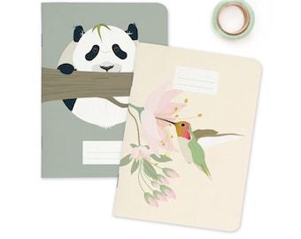 "Pocket size Notebooks - Panda & Hummingbird   A6 - 4.13 x 5.83"""