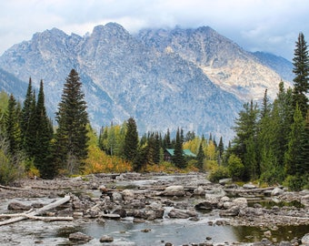 Grand Tetons National Park, Mountains, Cabin, Creek, Snow, Trees, Nature, West, Wyoming