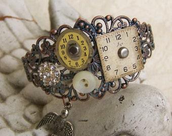 Steampunk Bracelet Vintage Style Altered Watch Face Bracelet Filigree Bird Bracelet Vintage Rhinestone Ornate Charm Bracelet Cuff Bracelet