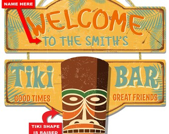Personalized Tiki Bar Welcome 3-D Hardboard Wall Sign