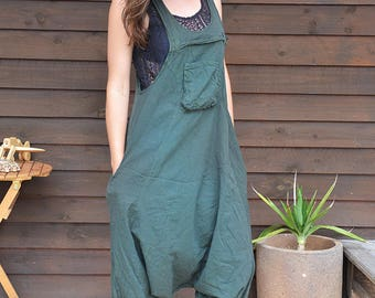 Funky Unisex Overalls, Pure Cotton Overalls, Loose Fitting, Handmade Maternity Trousers, Harem Jumpsuit, Men Baggy Overall