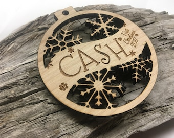 Cash - Any Name - Customizable Baby's First Christmas Ornament - Engraved Birch Wood Ornament
