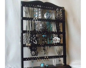 "ON SALE Jewelry Organizer Stand, Necklace Rack, Black Earring Holder, ""You Choose The Base Style"" , Earring Stand, Necklace Holder, Substant"