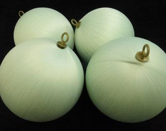 Vintage 3 Inch Seafoam Green Matte Satin Wrapped Ornament Balls NOS