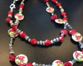 Red Silver floral necklace