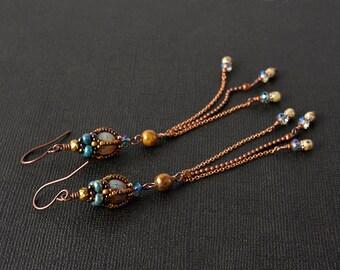 Long Beadwoven earrings