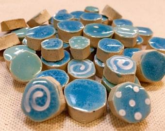 Sky Blue Ceramic Mosaic Tile Variety Pack Handcut Tiles