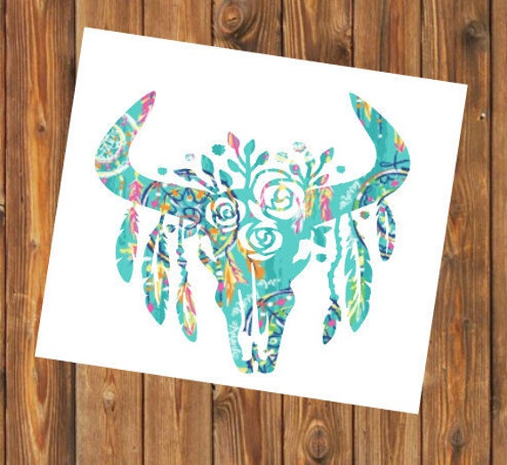 Free Shipping-Cow Skull Cactus Dream catcher decal, Turquoise Pink Native Indian Dreamcatcher Yeti RTIC SIC tumbler decal sticker